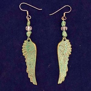 Turquoise Blue Angel Wing Earrings 2.75 Inches